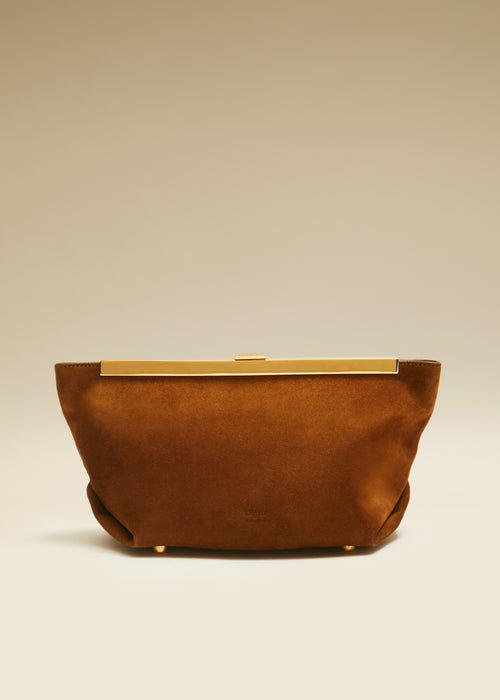 The Aimee Clutch in Caramel Suede
