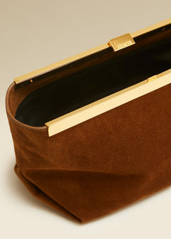 The Envelope Pleat Clutch in Caramel Suede