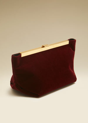 The Aimee Clutch in Deep Red Velvet