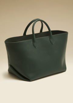 The Medium Amelia Tote in Hunter Green Leather