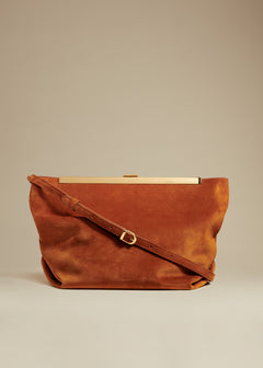 The Augusta Crossbody Bag in Cognac Suede