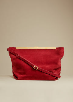 The Augusta Crossbody Bag in Deep Rose Suede