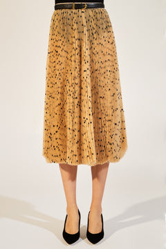 The Elizabeth Skirt in Nude with Navy Dot