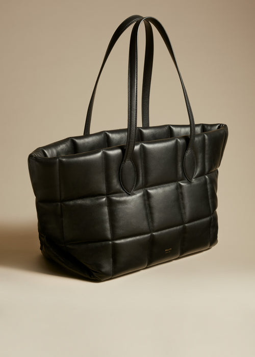 The Florence Quilted Tote in Black Leather