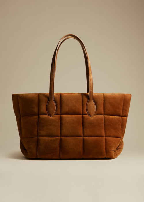 The Florence Quilted Tote in Caramel Suede
