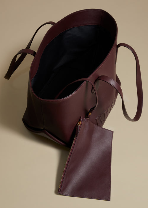 The Florence Tote in Deep Red Leather