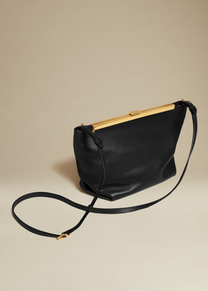 The Augusta Crossbody Bag in Black Leather