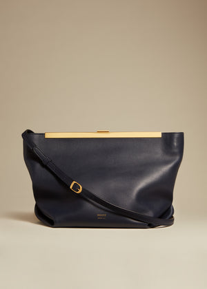 The Augusta Crossbody Bag in Navy Leather