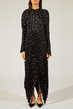 The Greta Dress in Black with Cream Dot
