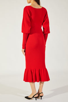 The Ina Dress in Crimson