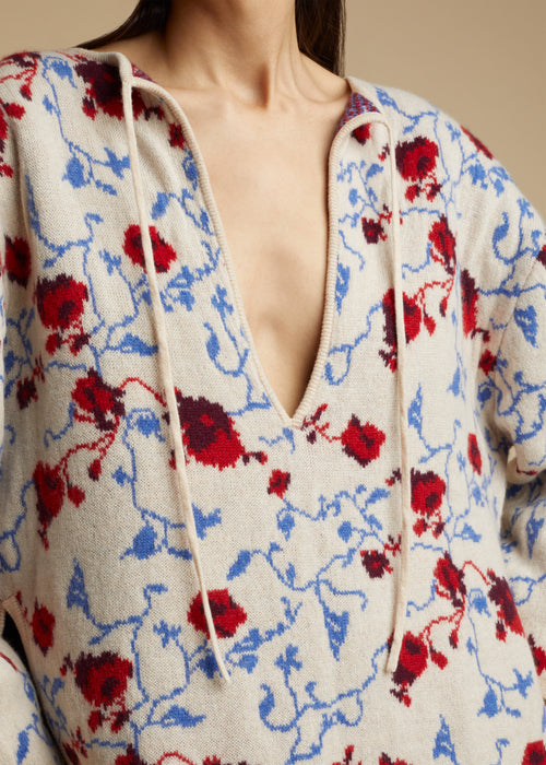 The Jamie Lynn Sweater in Floral Jacquard