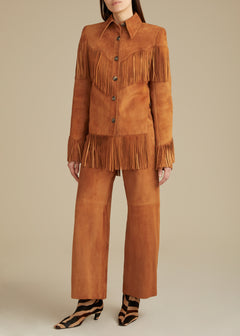 The Charlize Pant in Chestnut Suede