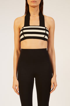 The Janet Bralette in Black and Cream Stripe