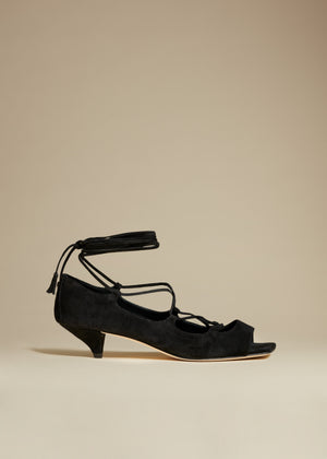 The Geneva Heel in Black Suede