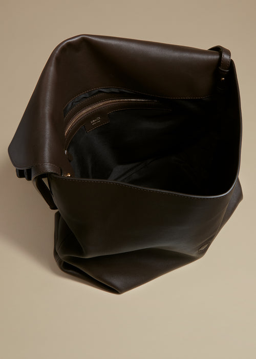 The Large Maude Crossbody Bag in Chocolate Leather