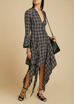 The Laura Dress in Navy Check