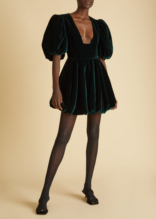 The Leona Dress in Hunter Green Velvet