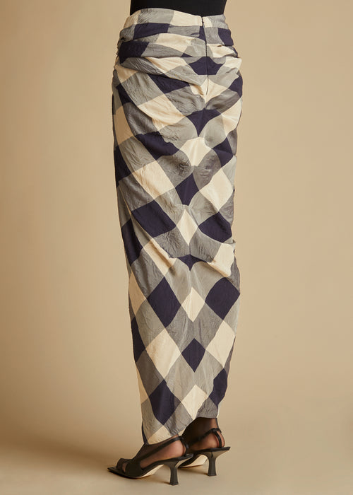 The Louie Skirt in Navy and Sand Check
