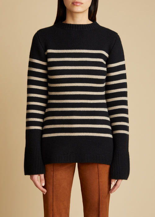 The Lou Sweater in Black and Powder Stripe