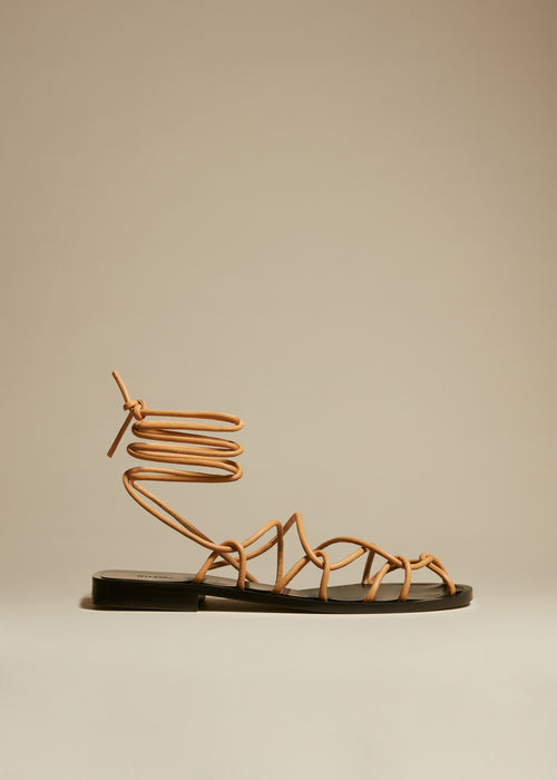 The Lyon Sandal in Beige Leather