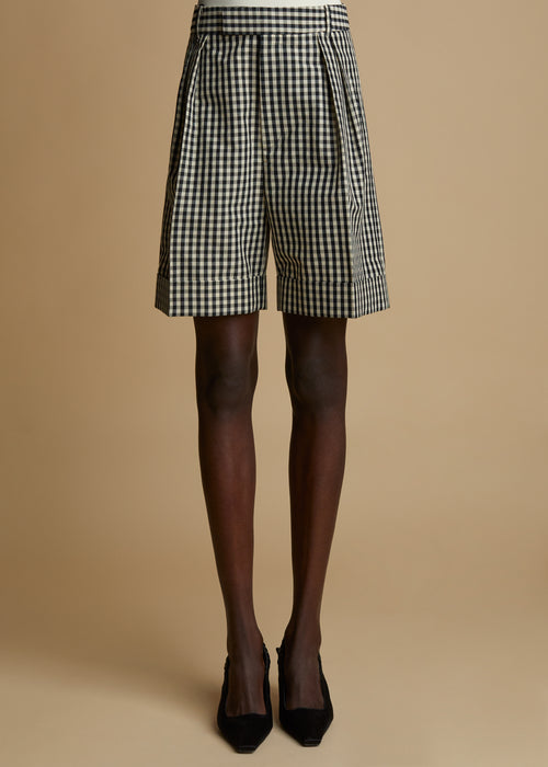 The Magdeline Short in Black and White Gingham