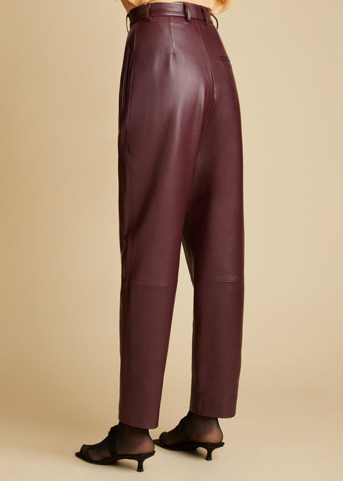 The Magdeline Pant in Bordeaux Leather