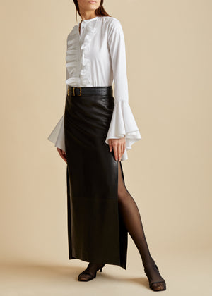 The Myla Skirt in Black Leather