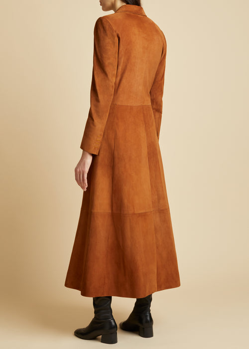 The Marge Coat in Cognac Suede