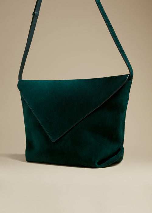 The Medium Maude Crossbody Bag in Hunter Green Suede