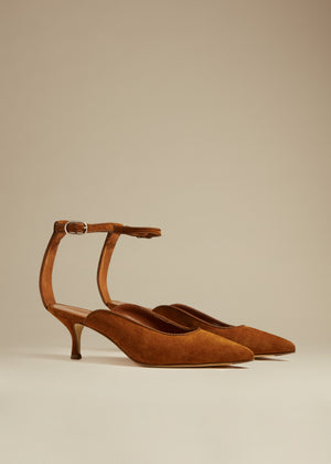 The Sterling Heel in Caramel Suede