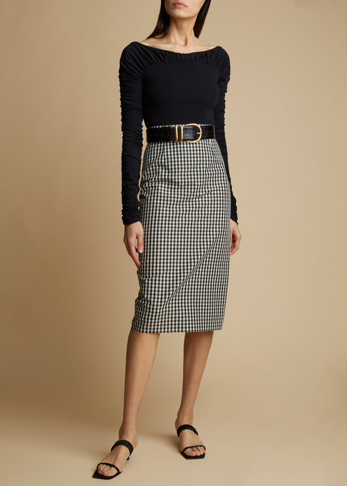 The Mya Skirt in Black and White Gingham