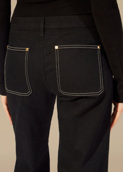 The Noah Jean in Black with Topstitching