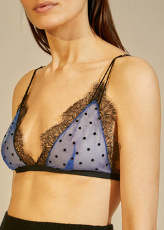 The Pasquale Bralette in Blue with Black Dots