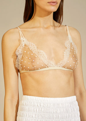 The Pasquale Bralette in Nude with White Dots