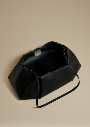 The Large Jeanne Crossbody Bag in Black Leather