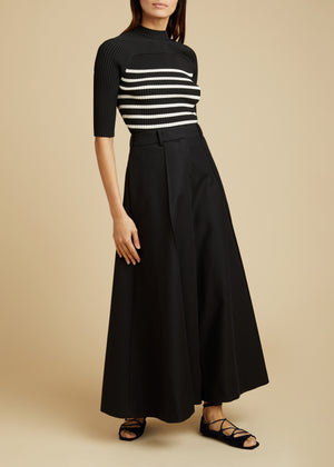 The Quincy Top in Black and Ivory Stripe