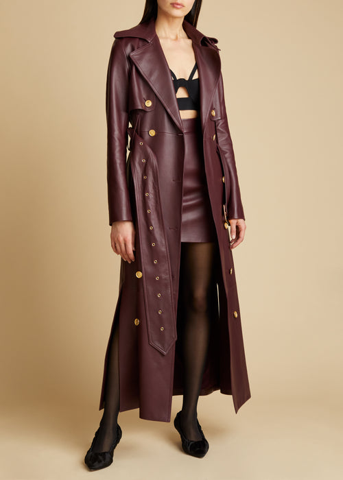 The Ren Trench in Bordeaux Leather