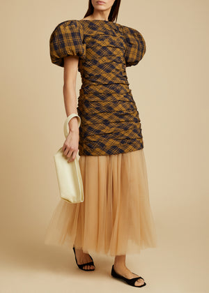The Shelly Dress with Petticoat in Brown Check