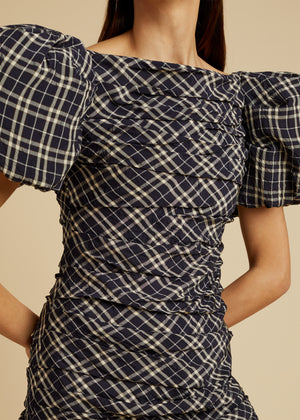The Shelly Dress in Navy Check