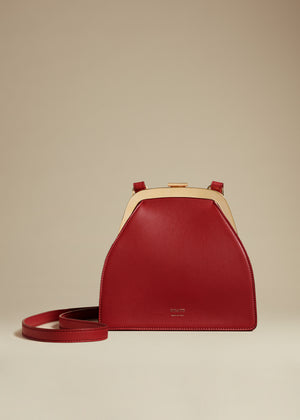 The Nellie Crossbody Bag in Deep Rose Leather