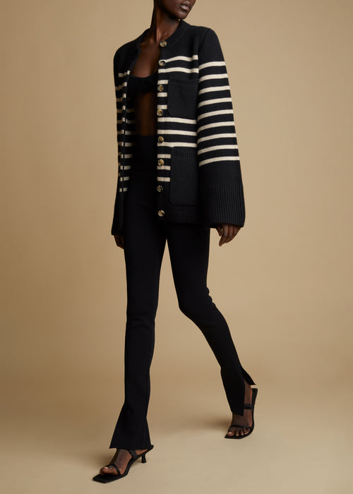 The Suzette Cardigan in Black and Custard Stripe