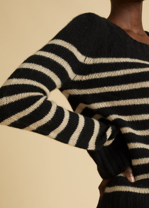 The Tilda Sweater in Black and Powder Stripe