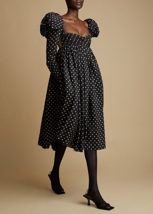 The Trisha Dress in Black and Creme Dot
