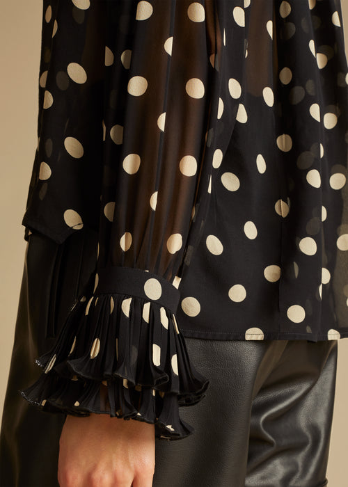 The Vanina Top in Black and Creme Dot