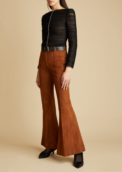 The Charles Pant in Cognac Suede