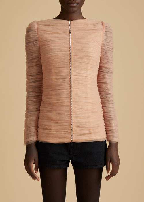 The Vienna Top in Light Peach