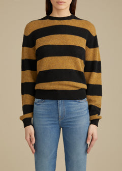The Viola Sweater in Black and Fawn Stripe