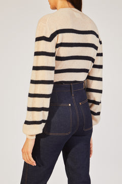 The Viola Sweater in Bone and Navy Stripe