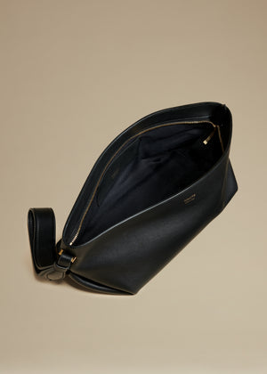 The Alma Wristlet in Black Leather