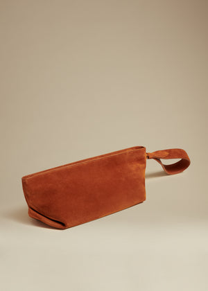 The Alma Wristlet in Cognac Suede
